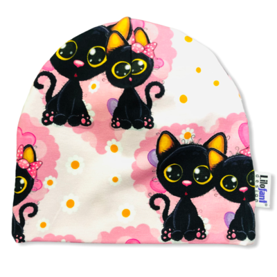Pink cats beanie