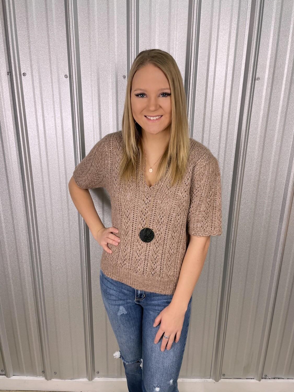 Mocha Scalloped Knit Sweater