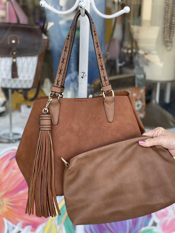 Stitch handle tassel purse