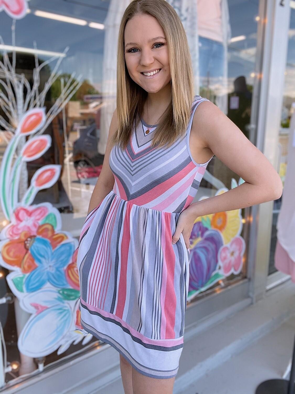 Coral Stripes Dress