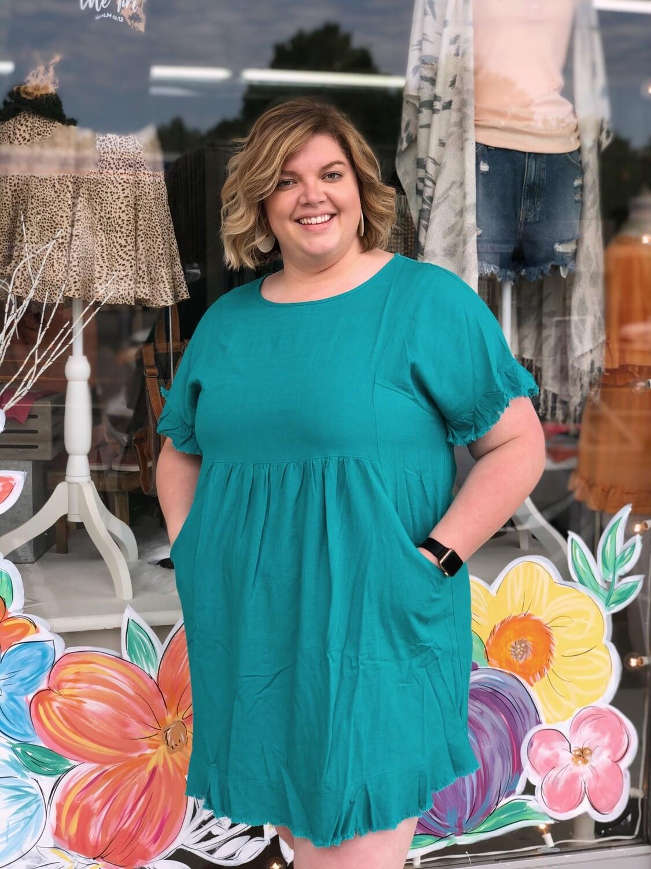 Fringe Lined Pocket Dress