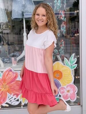 Pink Colorblock Dress