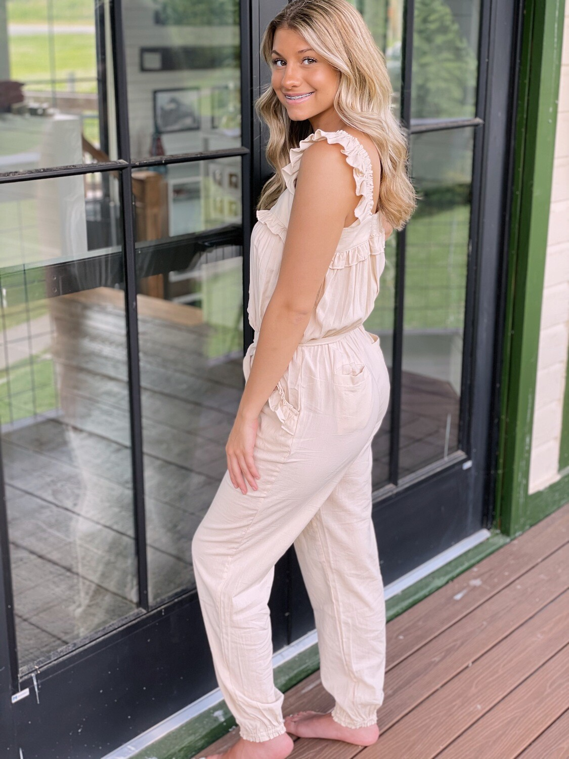 Date Night Taupe Jumpsuit