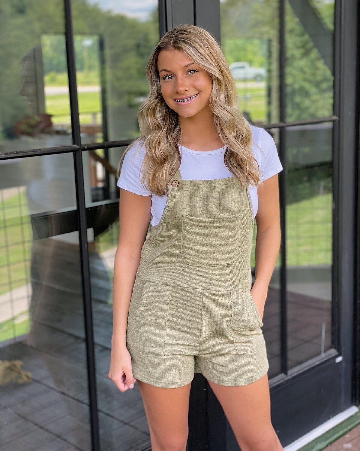 Stay On Trend Olive Overall