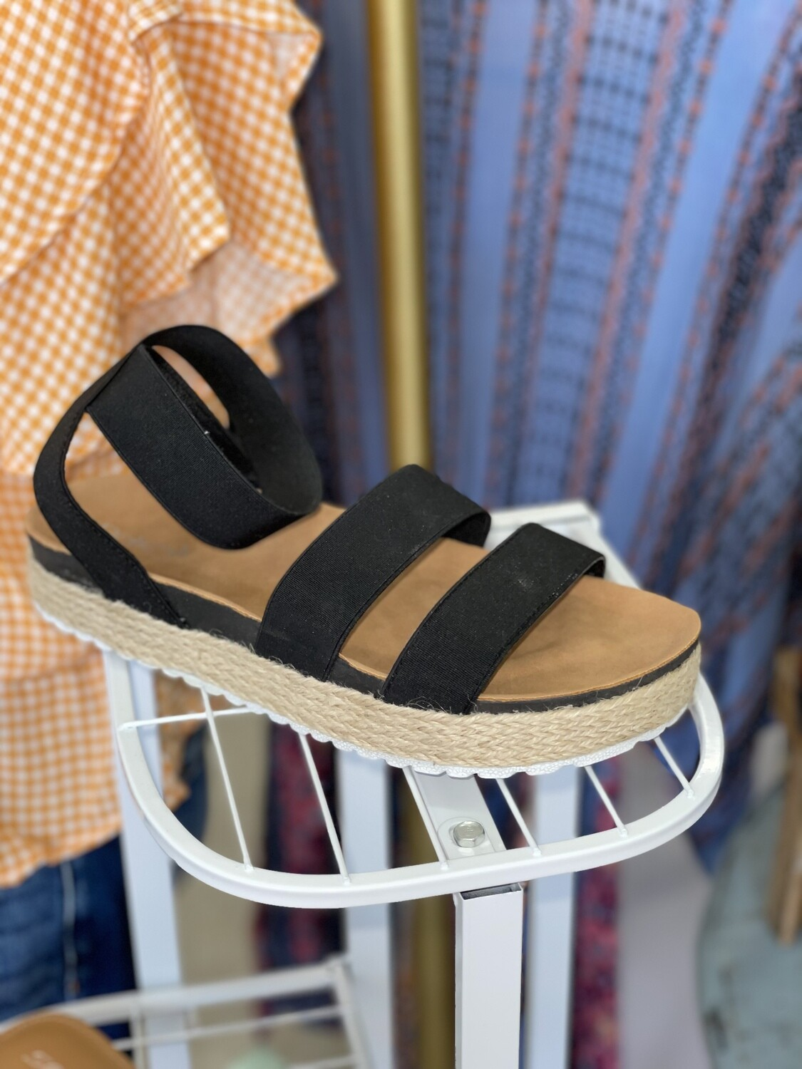 Blk Strappy Wedges