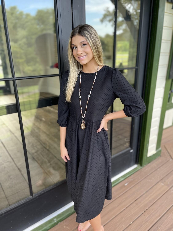 Swiss Dot Black Dress