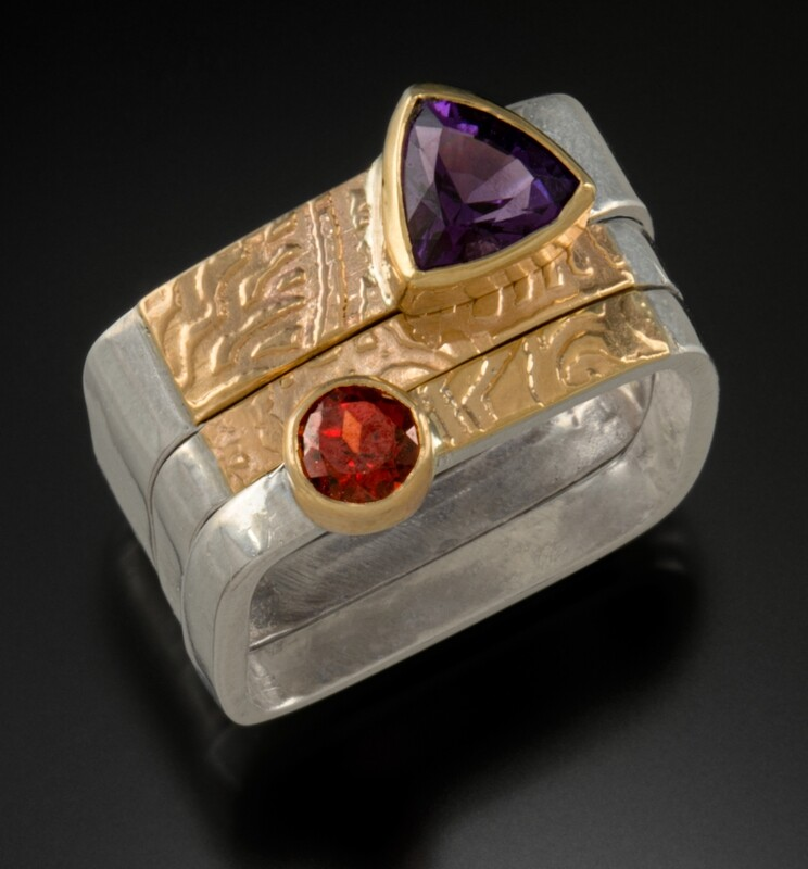 Square Stackable Rings with Amethyst and Garnet