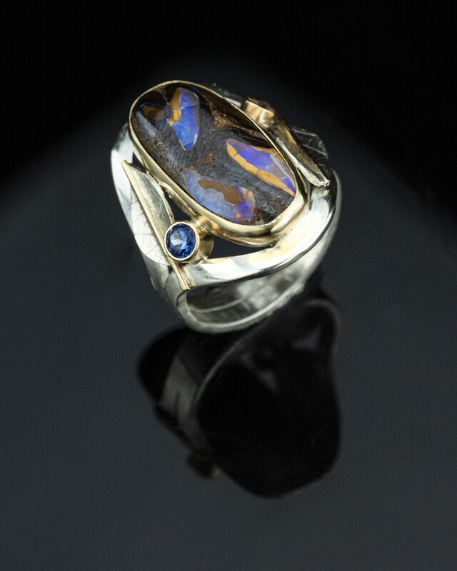 Oval Opal and sapphire ring