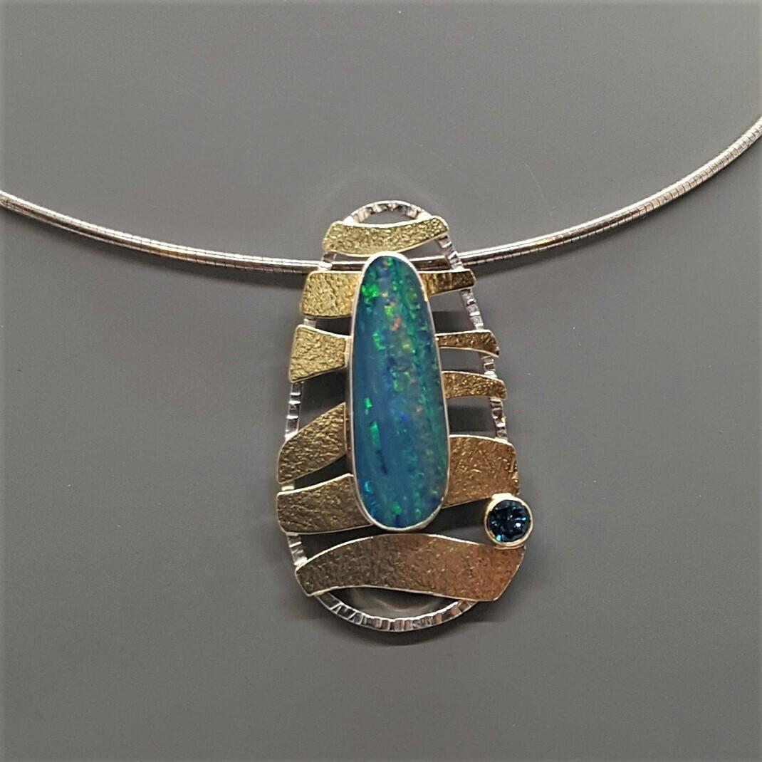 Wave Pendant with Opal, swiss blue topaz