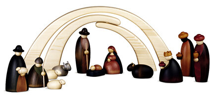 Bjoern Koehler, Nativity Scene (Large), Stable & 12 Nativity Figures