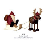 Bjoern Koehler Kunsthandwerk - Reindeer 'Rudolf' with Santa on Sleigh