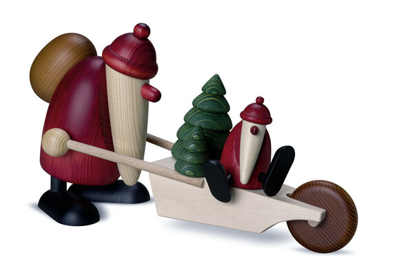 Bjoern Koehler Kunsthandwerk - Santa Large, 19cm, with cart, gifts and child