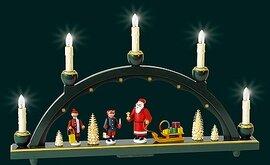 Glaesser Schwibbogen Santa, Sled and Children, Electr illuminated