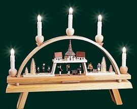 Glaesser Schwibbogen-Seiffen Village w/ Church Elect illuminated