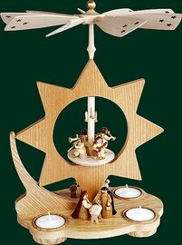 Glaesser - Tea light Pyramid - Star Shaped, Birth of Jesus Christ