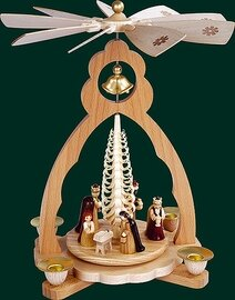 Glaesser - Bell Shaped pyramid for tea light-Birth of Jesus Christ