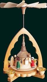 Glaesser - Pyramid Seiffener Church with children carrying lantern