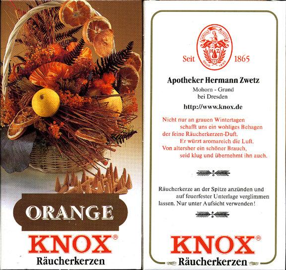 KNOX Incense Cones, Orange (Large)