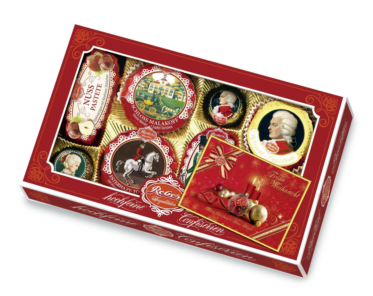 Reber Marzipan Specialty gift box with Christmas Card, 285g/10.1 Oz