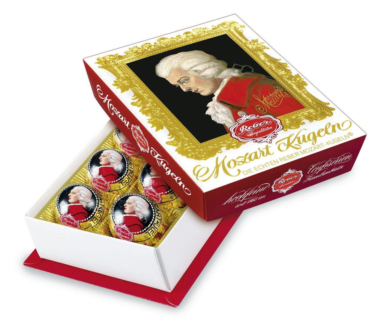 Reber Marzipan Mozart-Barock Kugeln 6er-Package, Semi-sweet Chocolade