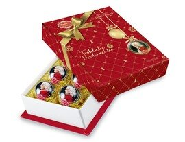 Reber Marzipan Mozart-Barock Kugeln 6er-Package, Semi-sweet Chocolade in Christmas Decor