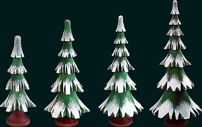 4 - tier Snow Coated Tree - 16 cm/6.3 inches, With trunk