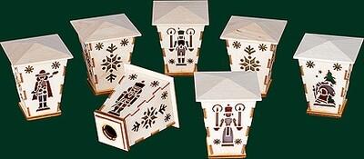 Richard Glaesser Addon Lanterns for Schwibboegen 6x6 cm Set of 7