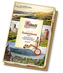 Asbach Assorted Brandy Chocolates Large Gift Box with Ruedesheim Aufleger