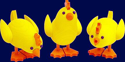 Richard Glaesser - Group of Easter-chicks picking (Set of 3)