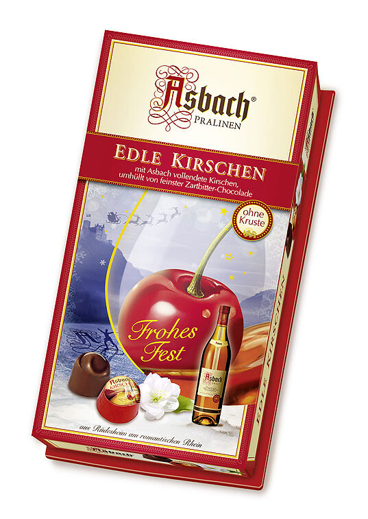 Asbach Cognac Marinated Cherries in Christmas Decor