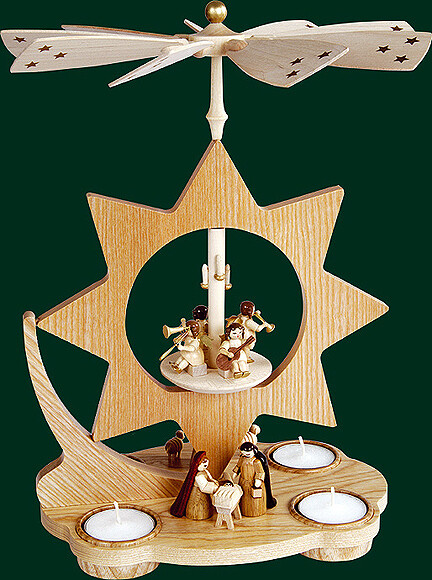 Glaesser - Tea light Pyramid - Star Shaped, Birth of Jesus Christ