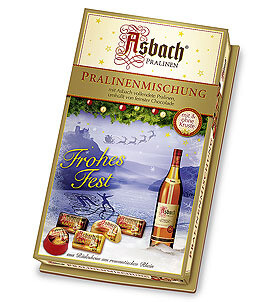 Assorted Asbach Pralines in a Christmas Decor Box - 400g/14.2 Oz
