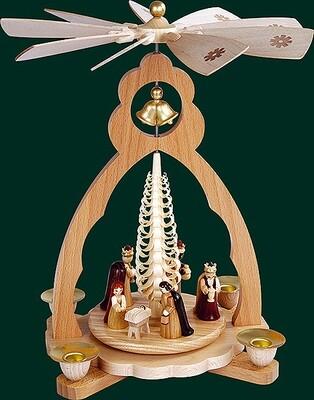 Glaesser - Bell Shaped pyramid for tea light-Birth of Jesus Christ