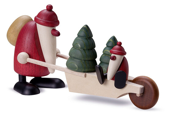 Bjoern Koehler Kunsthandwerk - Santa pushing cart and baby santa, 11cm