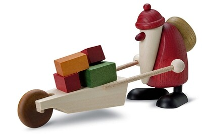 Bjoern Koehler Kunsthandwerk - Santa with Wheelbarrow and gifts