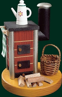 Glaesser Incense Smoker - Stove with Tea pot, red