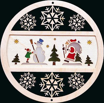Glaesser Window Decoration - Winter Scene, Santa and Snowman