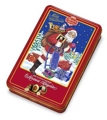 Weihnachtsschmuckdose 15 echte Reber Mozart-Kugeln, 300g/10.5 Oz