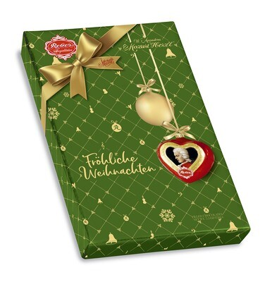 Reber Marzipan Mozart Herz'l® Package in Christmas wrapping, 150g/5.3 Oz