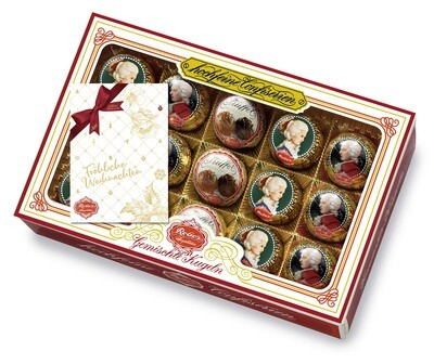 Reber Marzipan Assorted Kugel Box  - Large, with Christmas Card, 300g/10.5 Oz