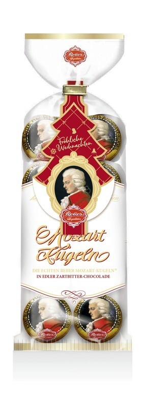 Reber Marzipan Mozart-Kugeln 8 pcs. Confectionery Bag  160g/5.7 Oz  with Christmas hanger