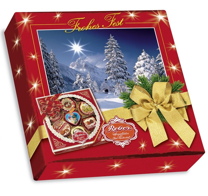 Reber Marzipan Square Specialty Gift Box in Christmas Decor, 340g/12.1 Oz