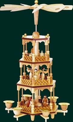 Glaesser Pyramid  3-tiers Birth of Jesus Christ natural wood tones
