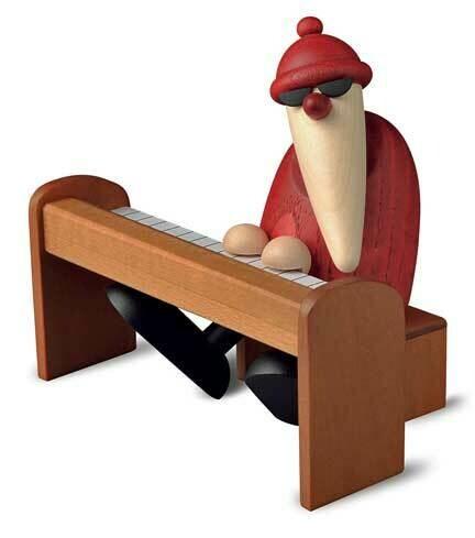 Bjoern Koehler Kunsthandwerk - Santa playing Piano - Brown