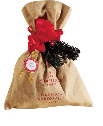 Niederegger Marzipan Potatoes in a decorated cloth bag -  125 g/4.44 oz