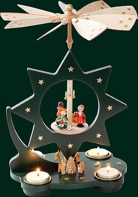 Glaesser - NEW Tea light Pyramid - Star Shaped, Santa, moss green