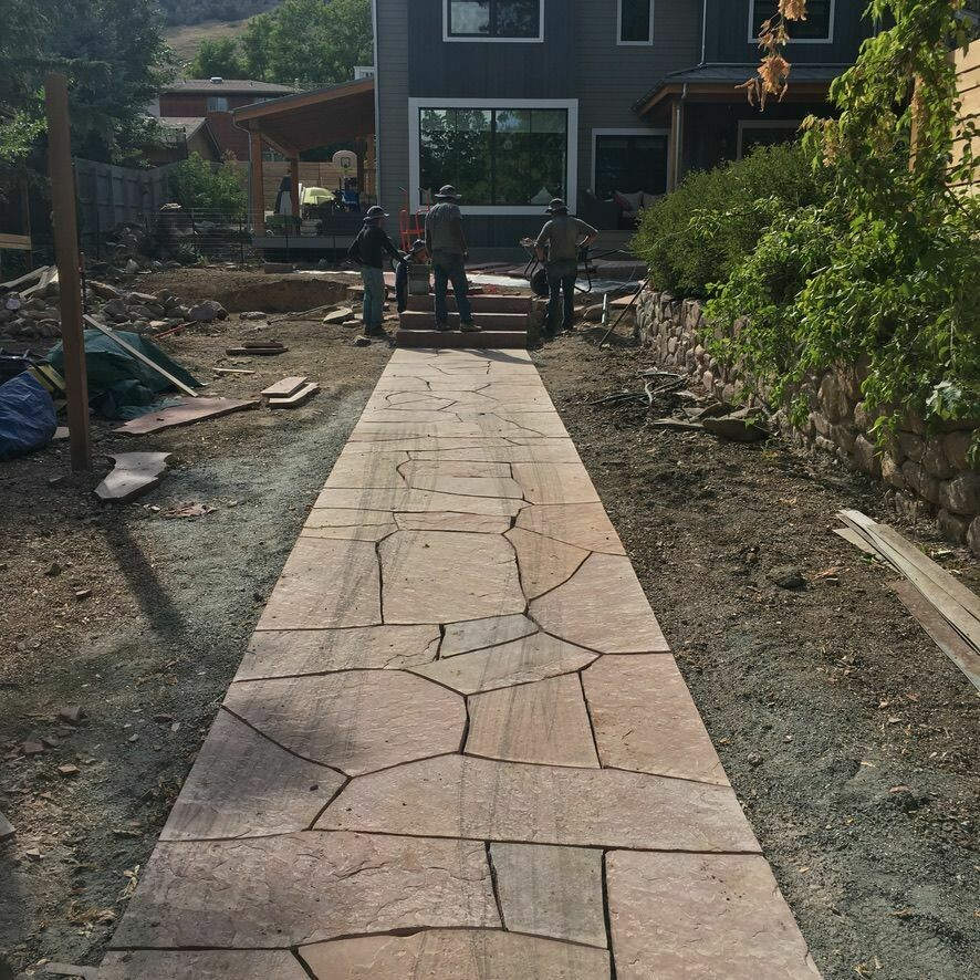 Arizona Buff Dimensional Cut Flagstone Walkway
