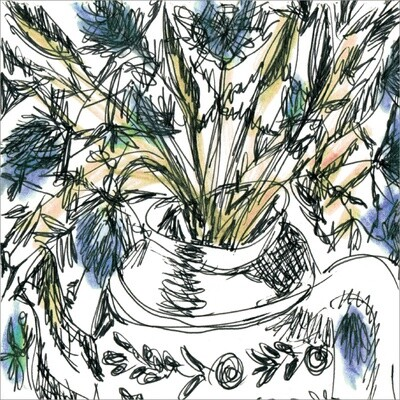 Blue Thistles and Teapot