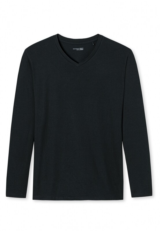 Schiesser T-shirt met  lange mouw en V-hals Mix+Relax
