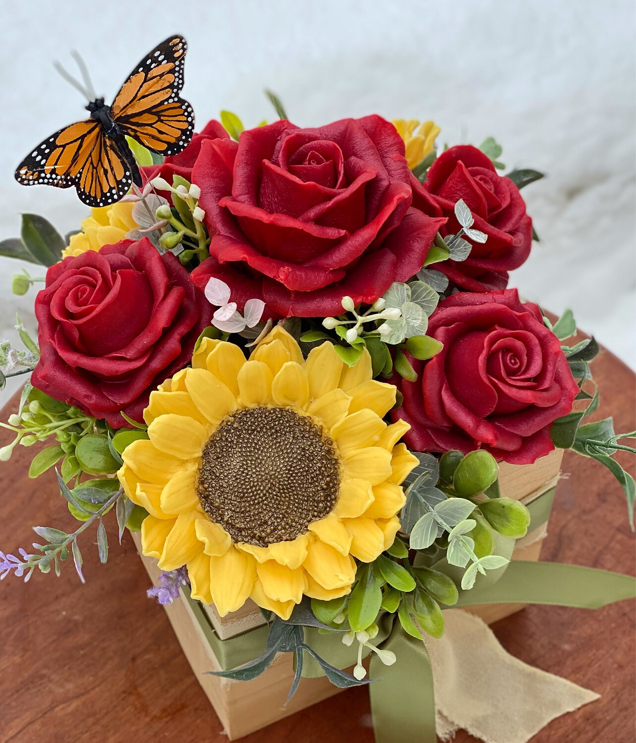 Sunflower & Red Roses